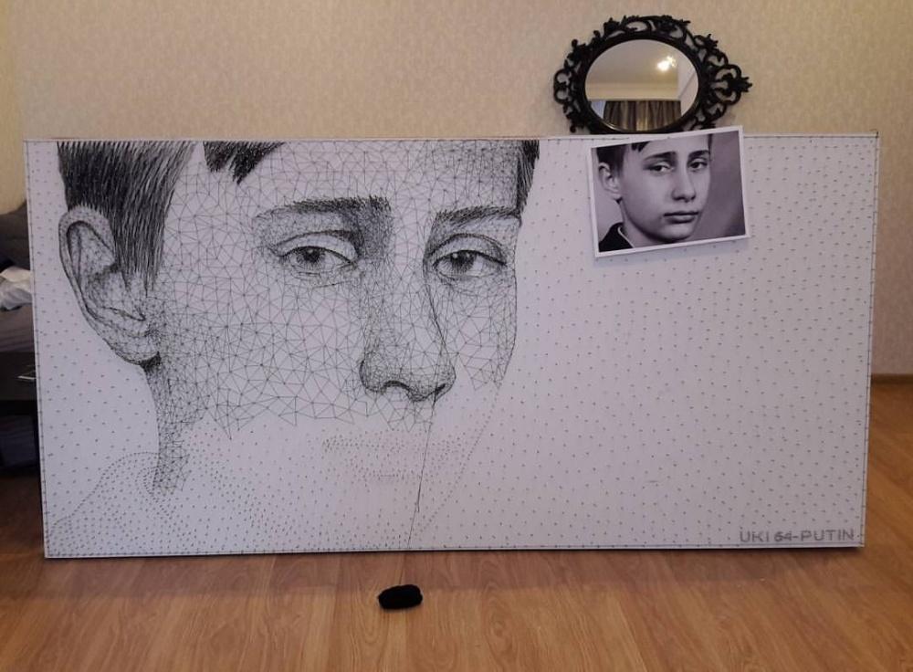 Кыргызстанец подарит Путину его портрет из ниток и гвоздей
